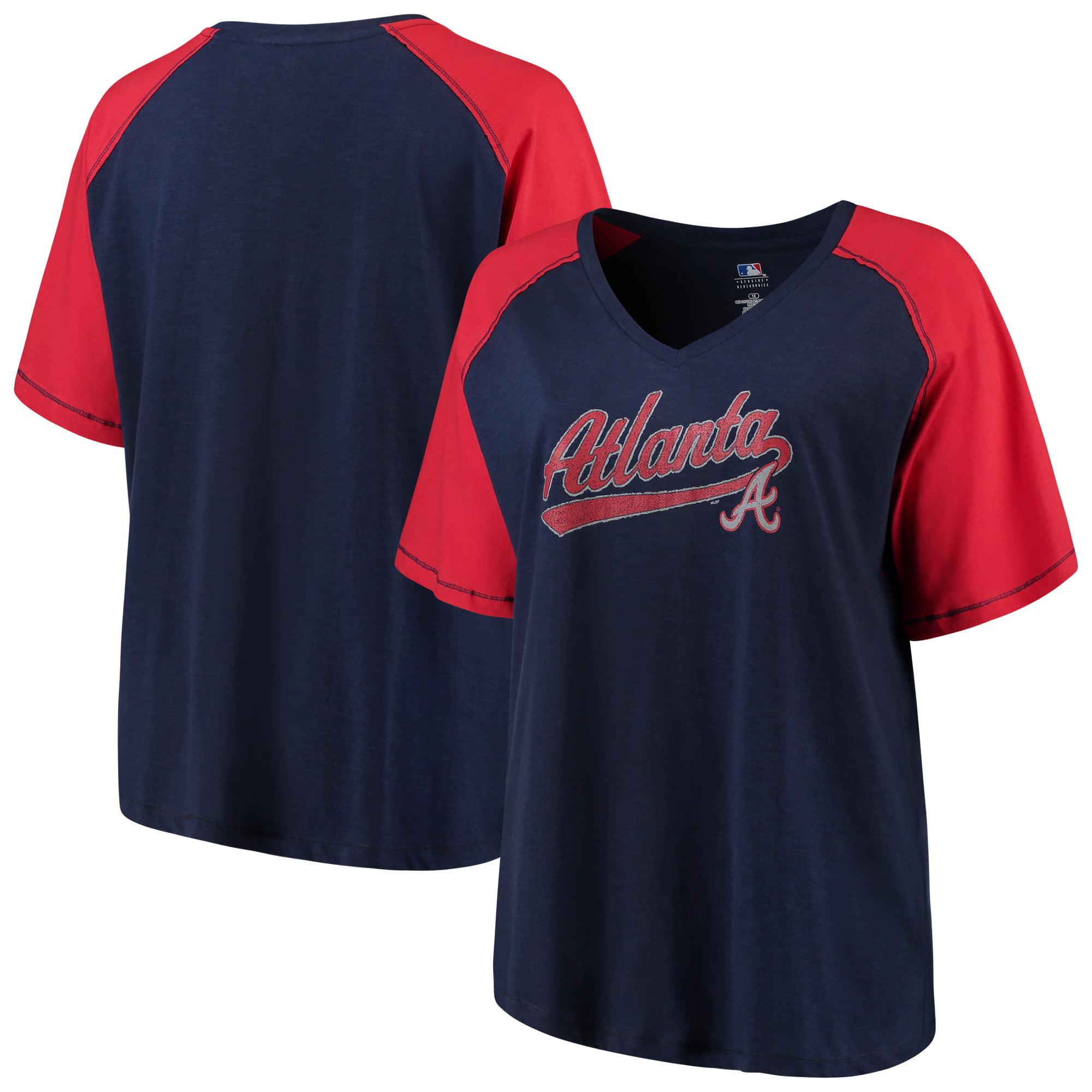 Women's Majestic Navy/Red Atlanta Braves Plus Size High Percentage Raglan V-Neck T-Shirt