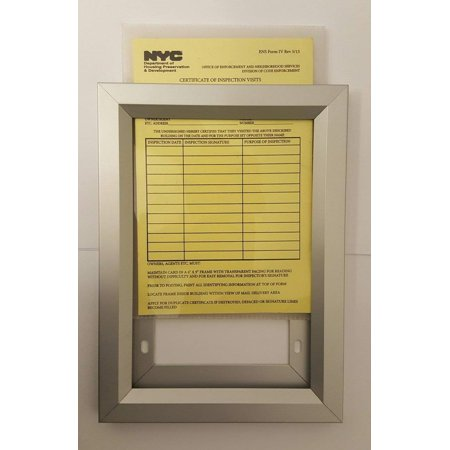 Equipment Use Permit Certificate visits frame NYC (HEAVY DUTY) 6 x 9 (Frames In Nyc)