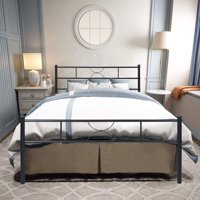 HOMY CASA Full Size Bed Frame with Headboard and Stable Metal Slats