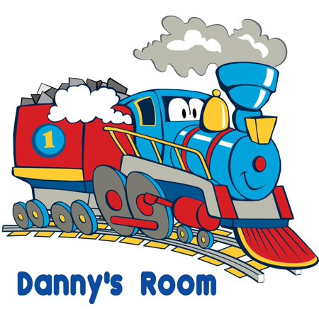- Personalized Name Vinyl Decal Sticker Custom Initial Wall Art Personalization Decor Boys Room Cartoon Old Train Colorful 20 Inches X 22 Inches