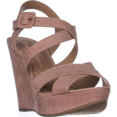 Womens AR35 Rachey Wedge Platform Strappy Peep-Toe Sandals, Blush