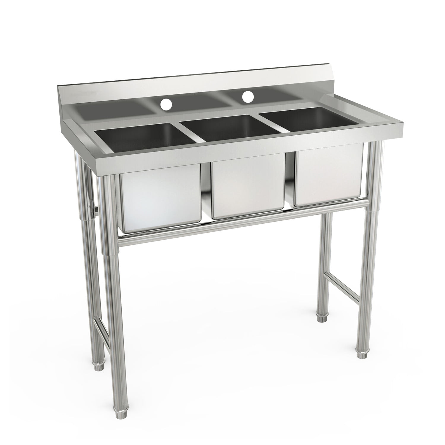 Garage Bonnlo 3-Compartment 304 Stainless Steel Utility Sink Commercial Grade Laundry Tub Culinary Sink for Outdoor Laundry//Utility Room Kitchen Indoor
