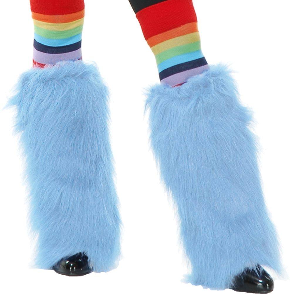 Adults Womens Cotton Candy Blue  Club Rave Furry Monster Leg Warmers