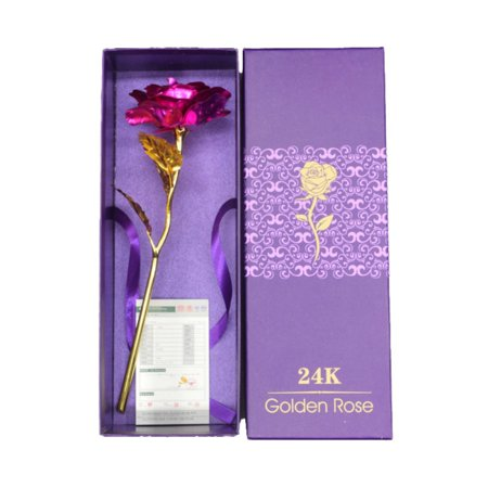 AngelCity Home Party Decoration Valentine's Day Gif Romantic Creative Handmade 24k Gold Rose Petals With (Flowers For Valentines Day Other Than Roses)