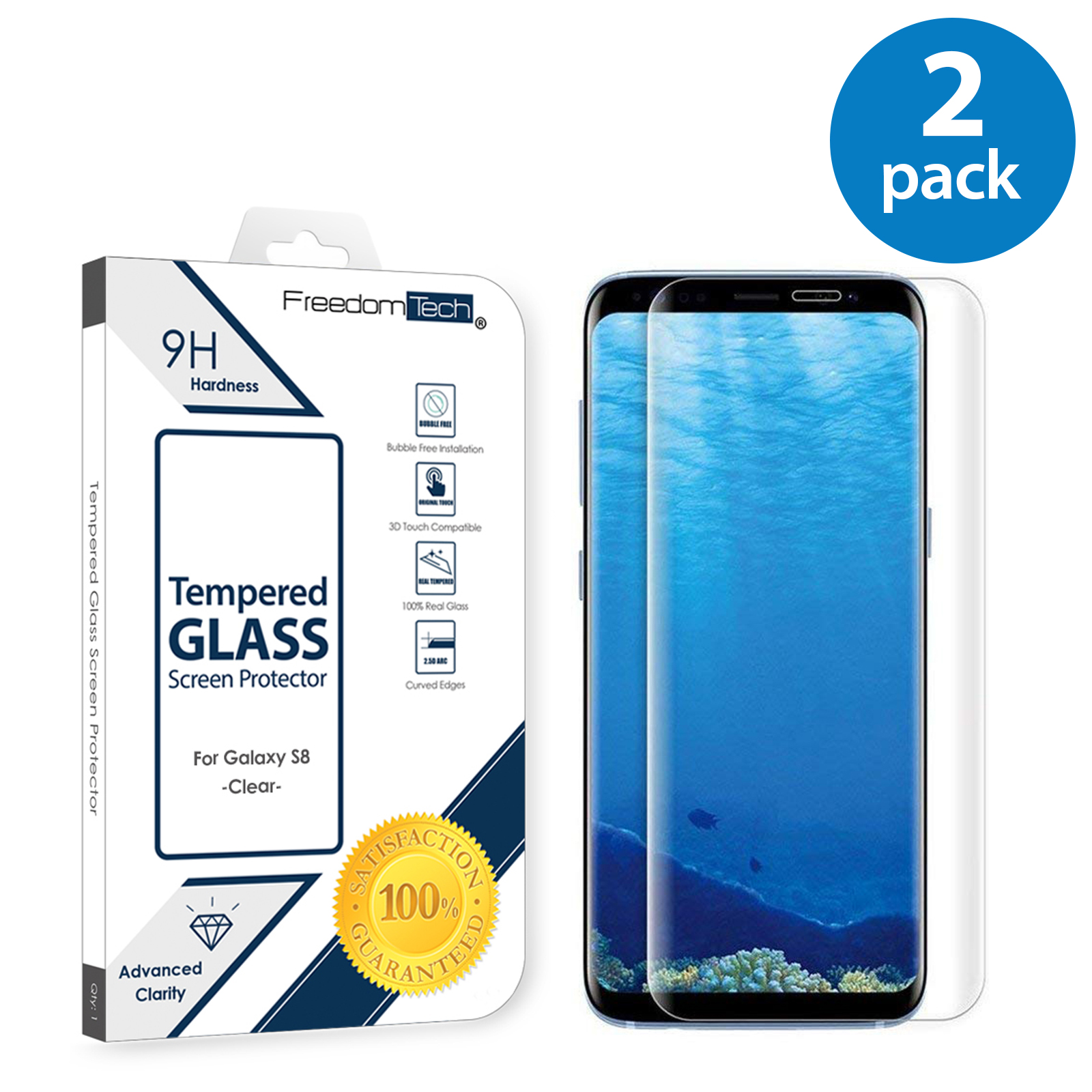 2x Samsung Galaxy S8 Screen Protector Glass Film Full Cover 3D Curved Case Friendly Screen Protector Tempered Glass for Samsung Galaxy S8 Clear