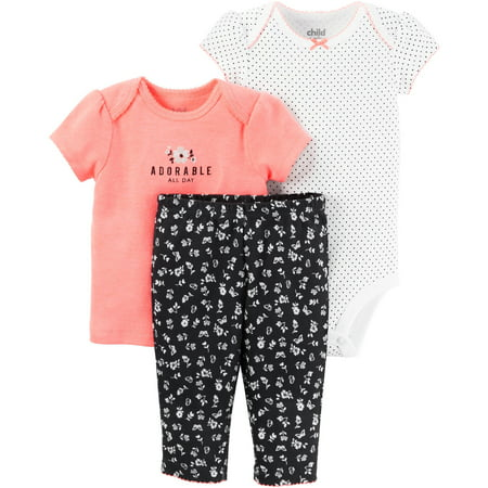 Child of Mine By Carters Newborn Baby Girl Tshirt, Bodysuit, and Pant Set