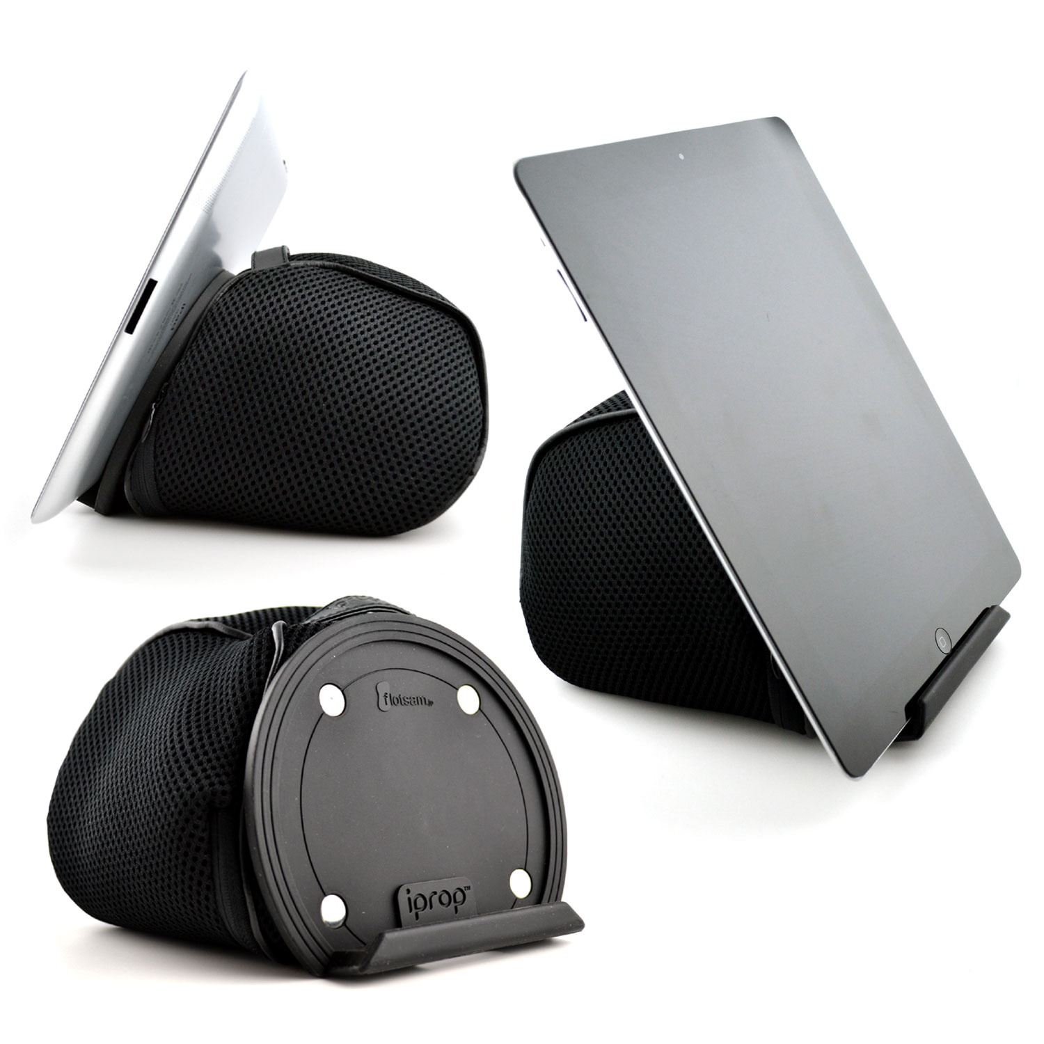 iPad Bed & Lap Stand by iProp; Bean Bag Pillow Universal Tablet Holder for iPads and Tablets, eReaders (Black)