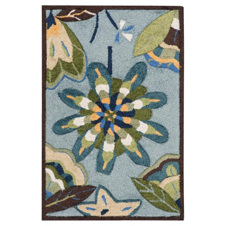 Nourison Fantasy FA12 Hand-Hooked Acrylic-Blend Rectangle Rug, Green ()