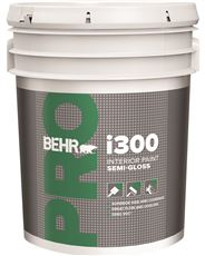 BEHR PRO I300 SEMI GLOSS INTERIOR PAINT, 5 GALLON, LINEN WHITE