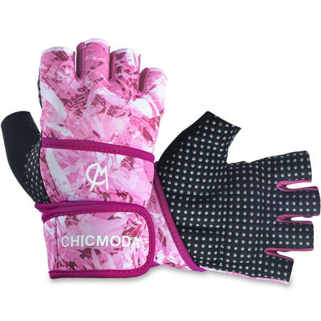 Weight Lifting Gloves, CHICMODA Gym Gloves Training Crossfit Bodybuilding Running Fitness Yoga Workout Sports Gloves w/ long Wrap Wrist for Women Men
