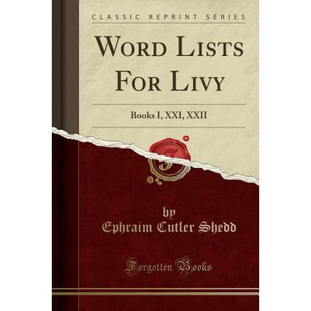 Word Lists for Livy : Books I, XXI, XXII (Classic - Halloween Word List Pdf