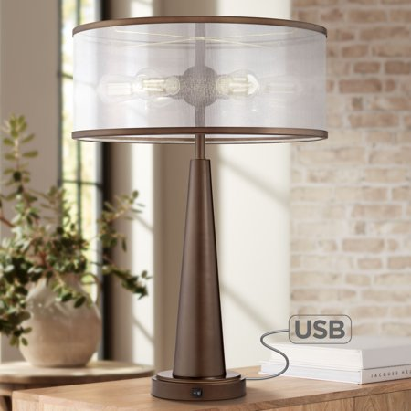 Apollo Microfilm Lamp - Franklin Iron Works Apollo Industrial Modern Table Lamp with USB Port