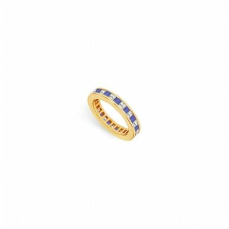 Diamond & Blue Sapphire Eternity Band 14K Yellow Gold, 2.00 CT - Size (Sapphire And Diamond Eternity Band Yellow Gold)