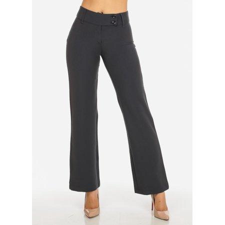 Evening 3 Piece Pant (Womens Juniors Evening Wear Grey High Waisted 2-Button Straight Leg Pants)