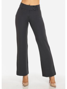 f33000dcac Product Image Womens Juniors Evening Wear Grey High Waisted 2-Button  Straight Leg Pants 41361H
