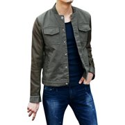 Azzuro Men's Long Sleeves Stand Collar Buttoned Casual Jacket (Size M / 38)