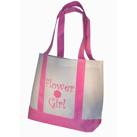 Flower Girl Bags (Flower Girl Tote Bag White with Pink Straps Large Wedding Flower Girl Gifts)