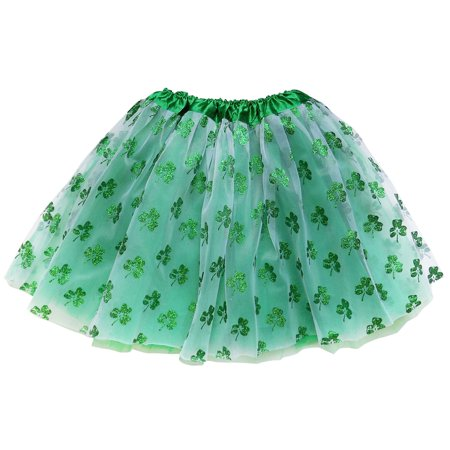 So Sydney Adult Plus Kids Size St. Patrick's Day SHAMROCK TUTU SKIRT Costume Dress Up - Tutu Child