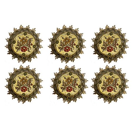 Floral Design Impressions Set - Set of 6 Coasters in Victorian Floral Brocade, Decorative Fabrics Artfully Embroidered with Floral and Gold Border, Swiss Made