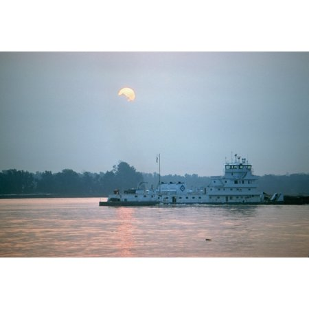 Illinois Towboat Nthe Sally Archer A Towboat Of The Archer Daniels Midland Company Pushing A Barge At The Confluence Of The Ohio And Mississippi Rivers At Cairo Illinois At Sunrise Photographed C1974