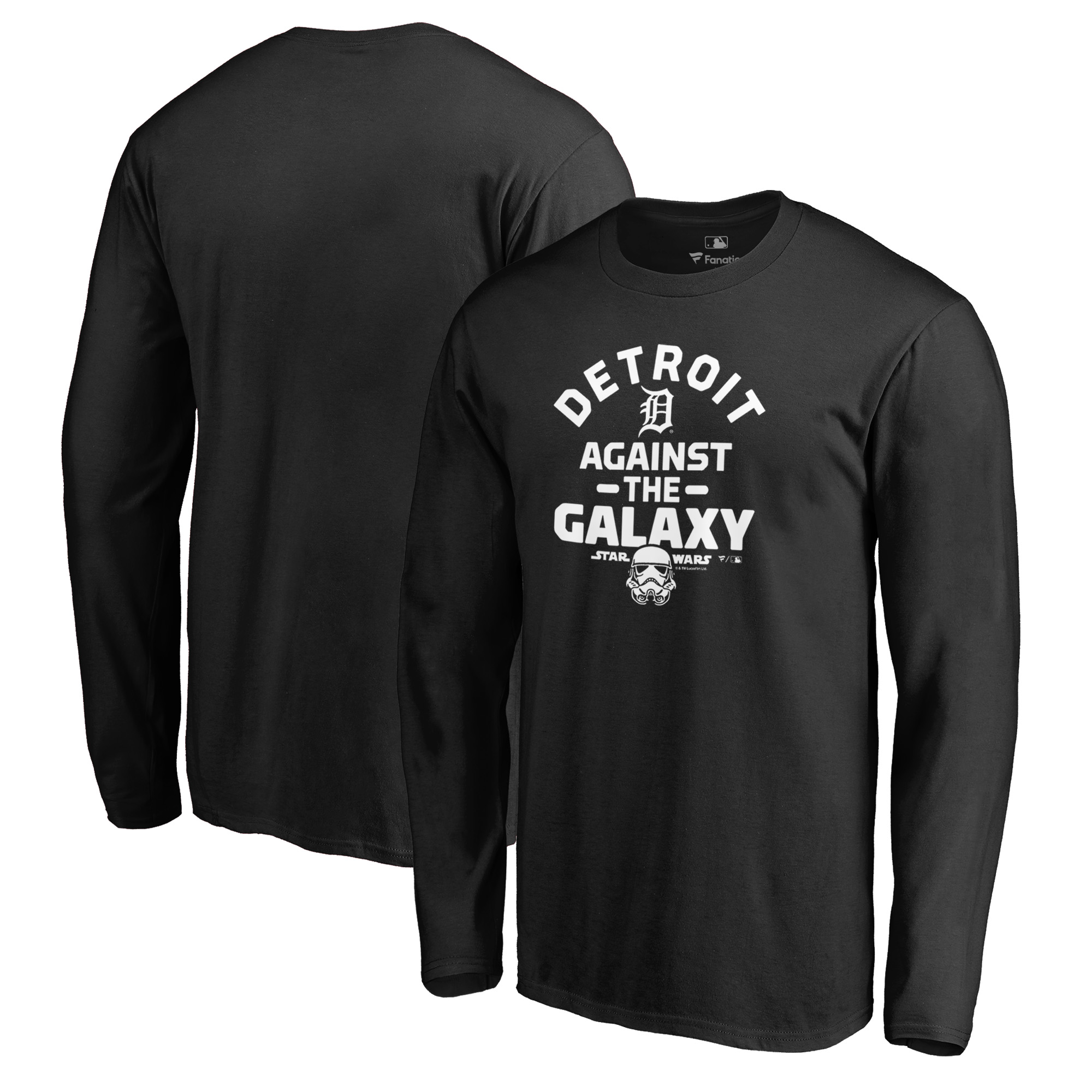 Detroit Tigers Fanatics Branded MLB Star Wars Against The Galaxy Long Sleeve T-Shirt - Black