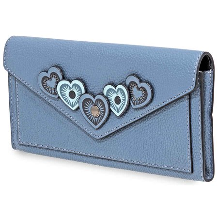 Coach Ladies Continental wallet Novelty Leather Chambray Blue Hrt App Sft (Best Workout Coach App)