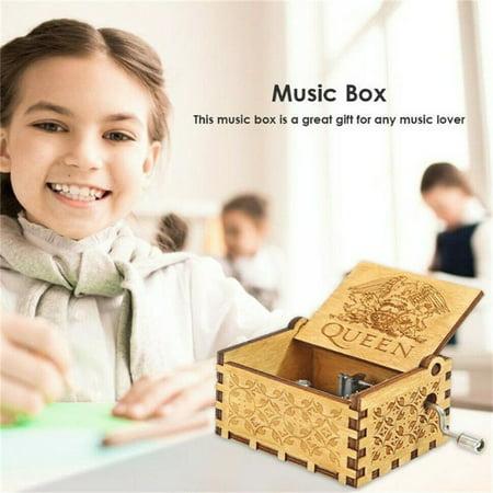 Pinkmall Wooden Engraved Queen Music Box Bohemian Rhapsody Kids Christmas Gift Music Box
