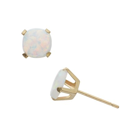 2 Carat T.G.W. Opal 10kt Yellow Gold 6mm x 6mm Cushion-Cut Post (Designer Tourmaline Earrings)