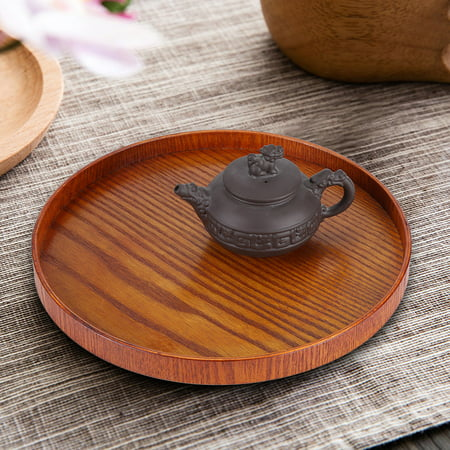 (Dilwe Round Natural Wood Serving Tray Wooden Plate Tea Food Server Dishes Water Drink Platter, Water Platter,Serving Tray)