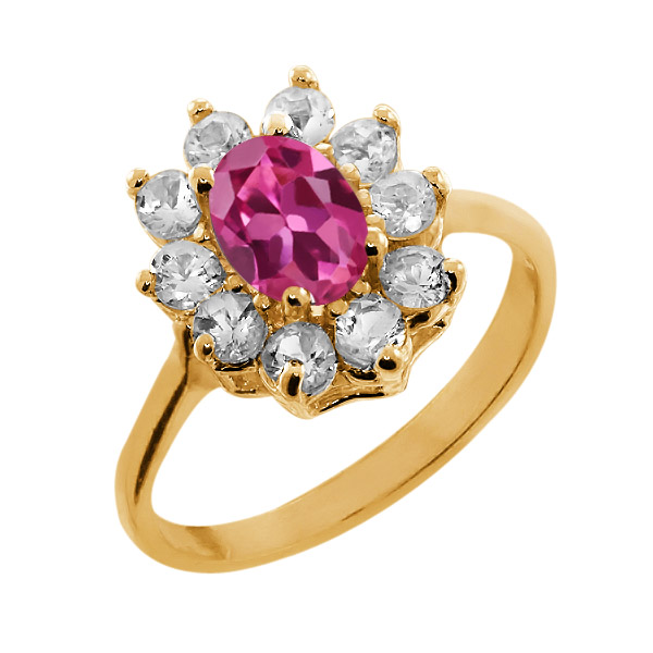 1.15 Ct Oval Pink Tourmaline 18K Yellow Gold Ring by