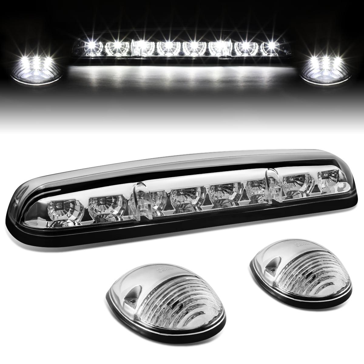 For 02-06 Silverado / Sierra GMT800 LED Cab Roof Center Light + Pair Side Lamps (Chrome Housing White LED) 04 05