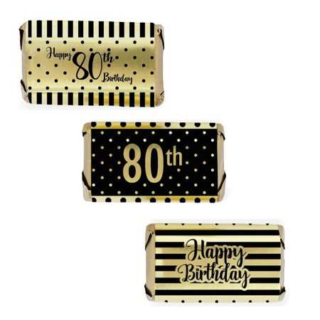 Gold Foil 80th Birthday Candy Wrappers, 54ct - Black and Gold Stripe and Polka Dot Birthday Party Supplies - 54 Count Stickers