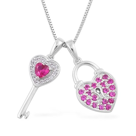 925 Sterling Silver Created Ruby Lock Key Love Heart Valentines Pendant Cttw - Ruby Key
