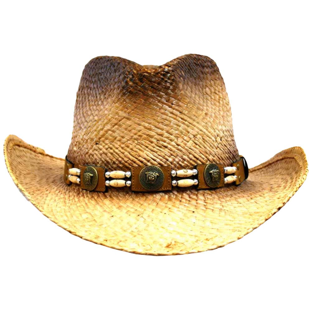 Luxury Divas Distressed Raffia Cowboy Hat With Beaded Hatband