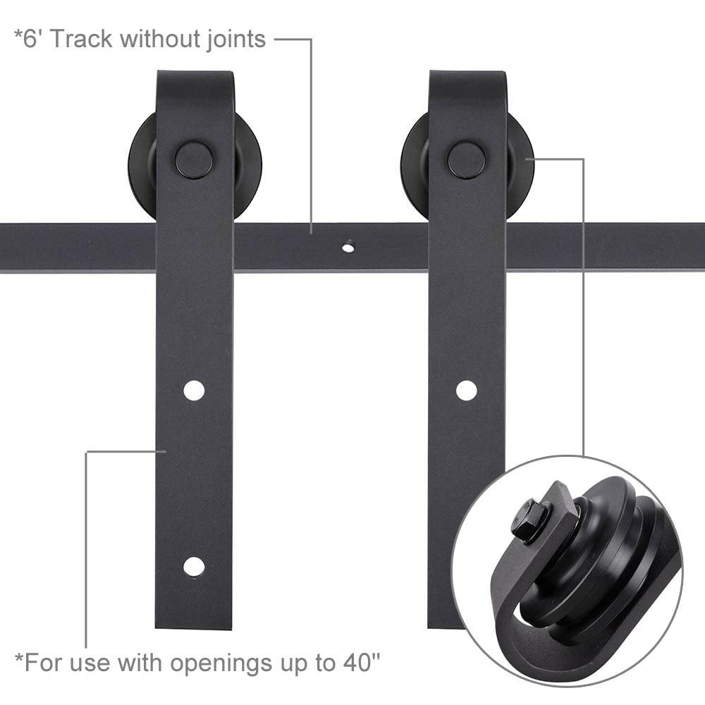 6ft Heavy Duty Steel Sliding Barn Wood Door Closet Hardware Set Single System Track Kit J Shape Hanger