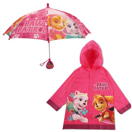 Umbrella Toy - Nickelodeon Paw Patrol Slicker and Umbrella Rainwear Set, Little Girls, Age 2-7