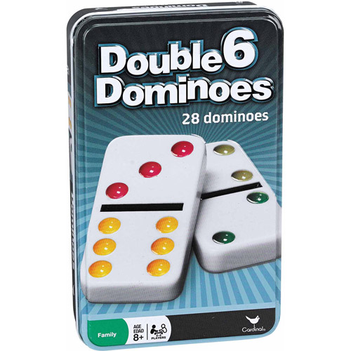 Plastic Double 6 Color Dot Dominoes in a Tin