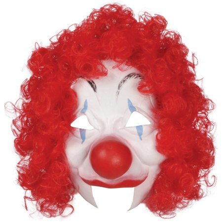 Loftus Halloween Clown Costume Face Mask, White Red, One Size - Red And White Halloween Faces