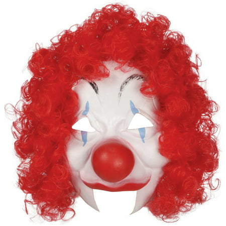 Loftus Halloween Clown Costume Face Mask, White Red, One Size