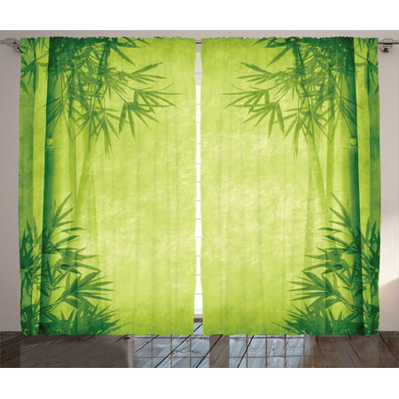 Bamboo House Decor Curtains 2 Panels Set, Chinese Banmboo Trees Design Asian Fengshui Style Simple Organized Relaxing Life Image, Living Room Bedroom Accessories, By Ambesonne - Chinese Bamboo Hat