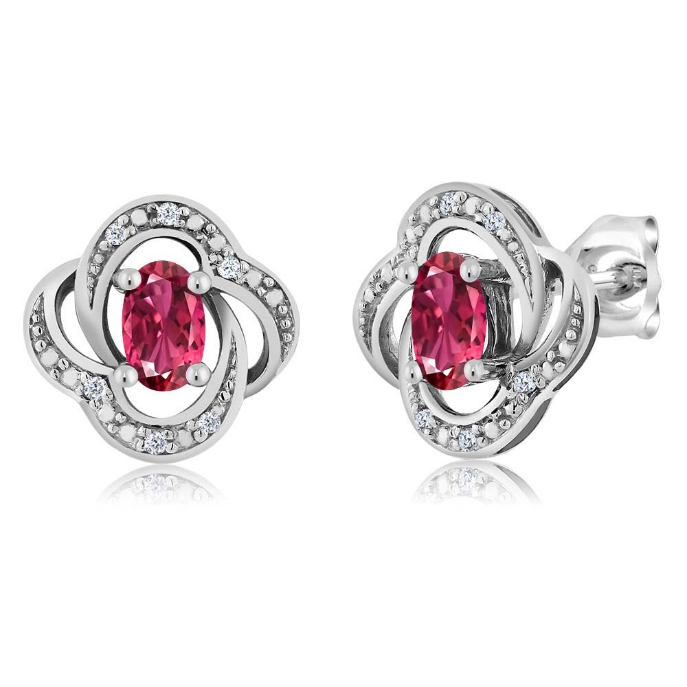 Women's Oval 5x3mm Pink Tourmaline 18K White Gold Diamond Stud Earrings by
