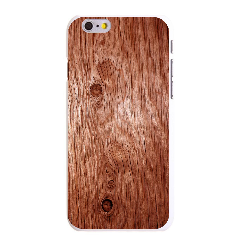 "CUSTOM White Hard Plastic Snap-On Case for Apple iPhone 6 / 6S (4.7"" Screen) - Orange Weathered Wood Grain"