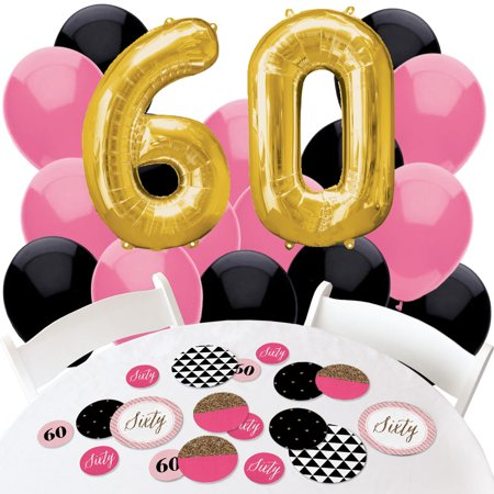 Chic 60th Birthday - Confetti and Balloon Birthday Party Decorations - Combo Kit - Pink And Black Balloons