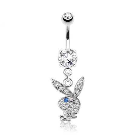 Navel Ring with Multi Paved Gems on Playboy Bunny Dangle Surgical Steel 14g Gemstone Navel Ring