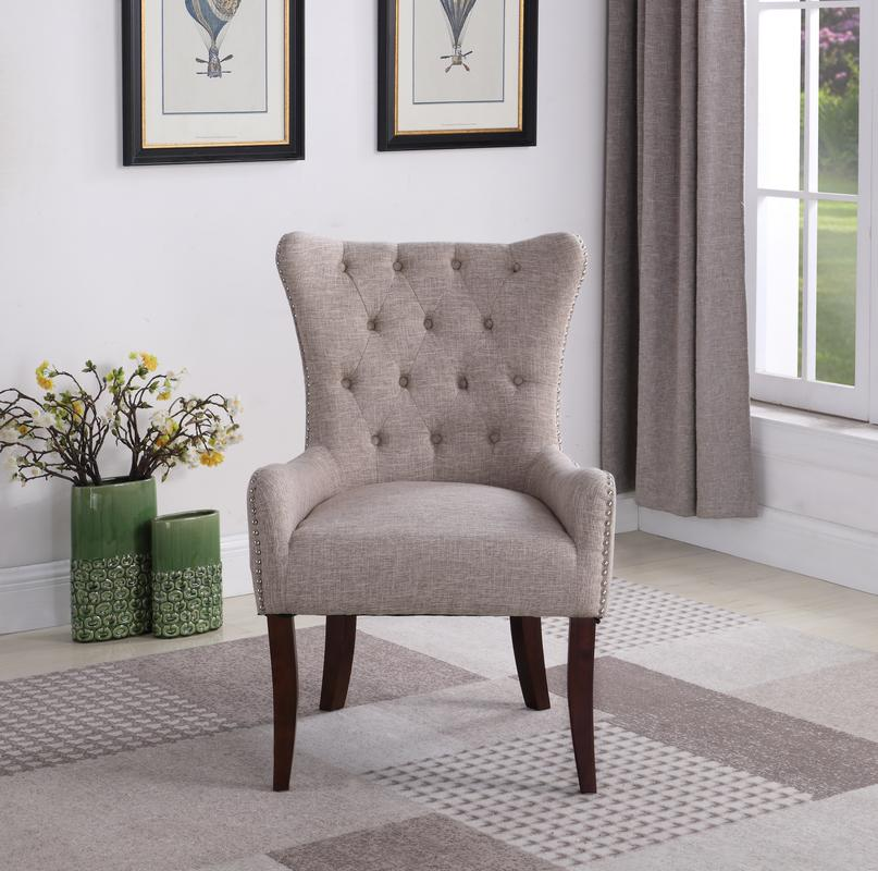 Button Tufted Elegant Accent Chair, Taupe   Walmart.com