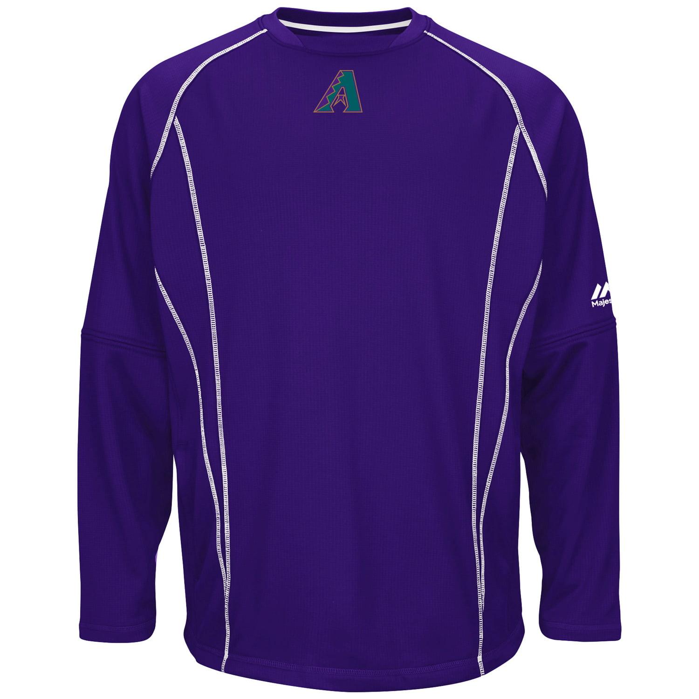 Arizona Diamondbacks Majestic On-Field Long Sleeve Practice Fleece Pullover - Purple