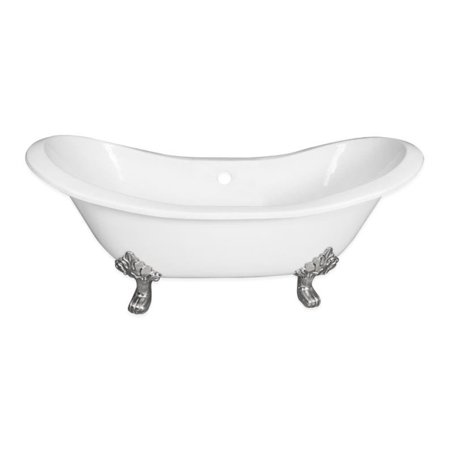 Cambridge Plumbing DES-NH-CP 71 inch Double Ended Slipper Tub With Faucet Holes: No Holes And Tub Feet Finish: Polished Chrome (Polished Chrome Feet)