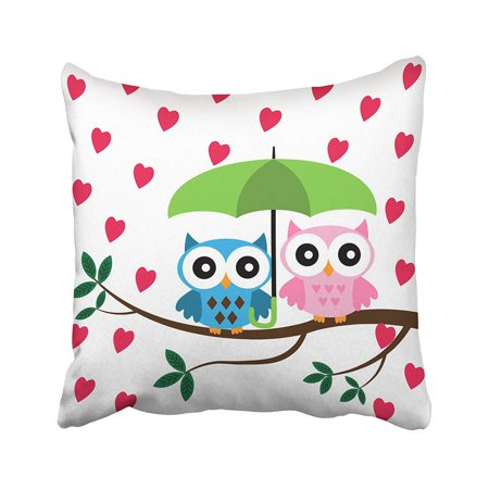WOPOP Cute Two Owls Sitting On The Branch With Green Umbrella Under Hearts Rain Birds Leaf Pillowcase Pillow Cushion Cover 20x20 inches