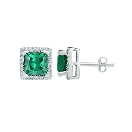 39f74b000735a Princess Cut Lab Created Emerald 1.62 Carat (ctw) Solitaire Stud ...