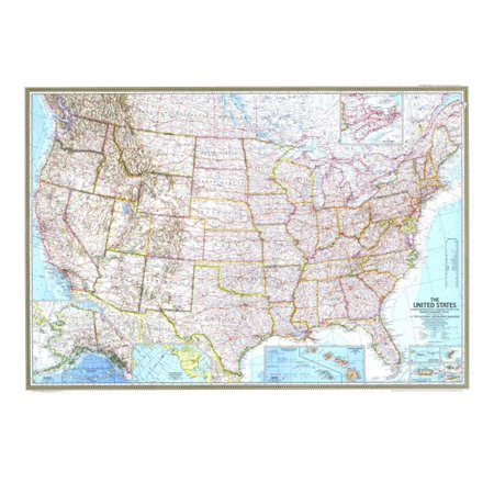 1968 United States Map Print Wall Art By National Geographic Maps ...